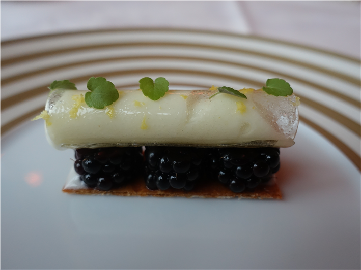 lemon and blackberry pre-dessert